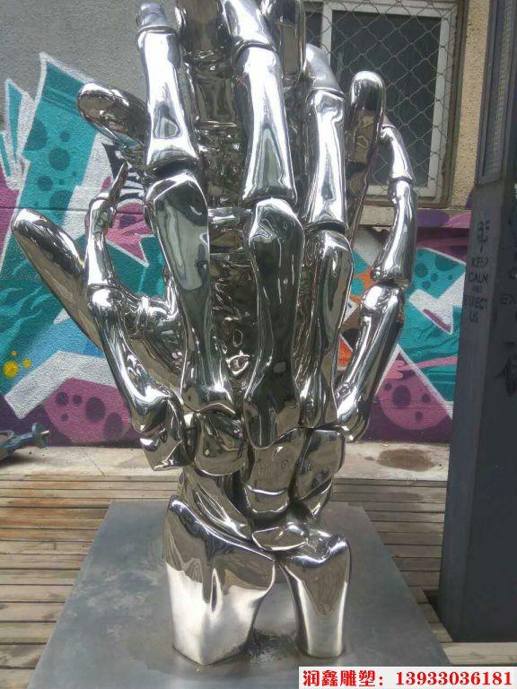 不锈钢骷髅手雕塑 (2)